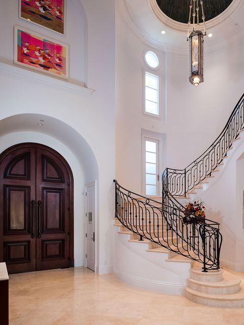 Stairs, Wood, Interior design, Property, Floor, Wall, Flooring, Door, Wood stain, Iron,