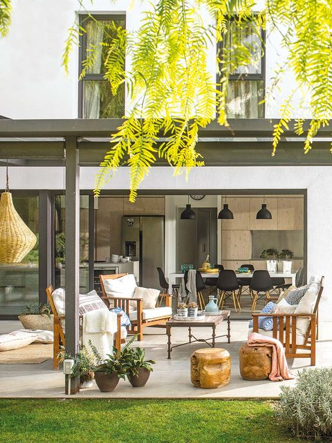 Yellow, Flowerpot, Chair, Twig, Outdoor furniture, Outdoor table, Houseplant, Coffee table, Patio, Outdoor structure,