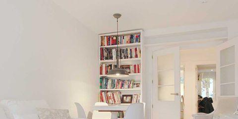 Room, White, Furniture, Interior design, Property, Living room, Floor, Table, Building, Ceiling,