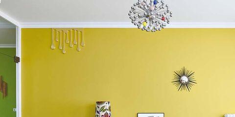 Room, Yellow, Interior design, Wall, Floor, Furniture, Ceiling, Flooring, Interior design, Light fixture,