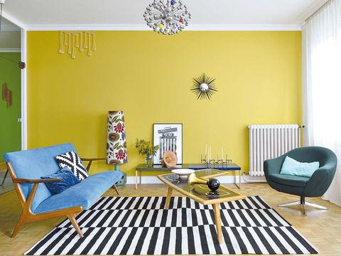 Room, Wood, Yellow, Interior design, Floor, Flooring, Ceiling, Furniture, Wall, Interior design,