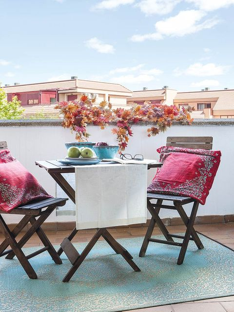Furniture, Pink, Table, Outdoor furniture, Magenta, Outdoor table, Peach, Kitchen & dining room table, Linens, Patio,