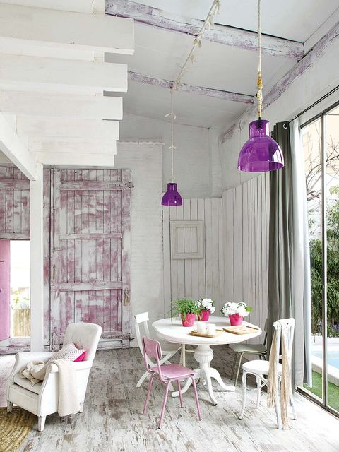 Interior design, Room, Furniture, Purple, Ceiling, Table, Pink, Floor, Interior design, Lavender,