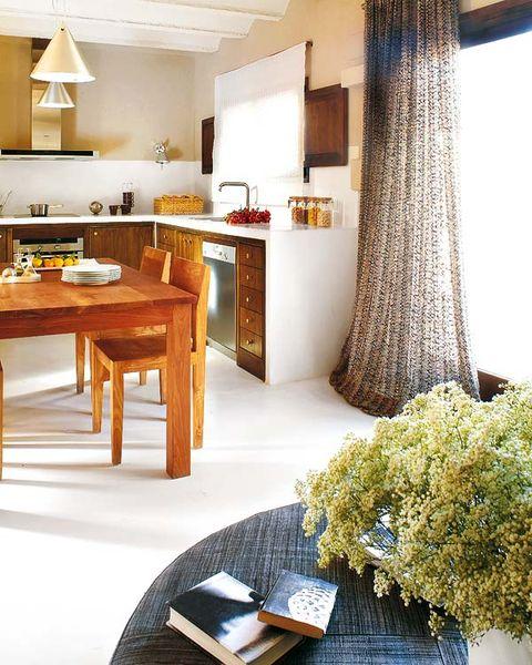Interior design, Room, Floor, Furniture, Table, Interior design, Light fixture, Ceiling, Countertop, Flooring,