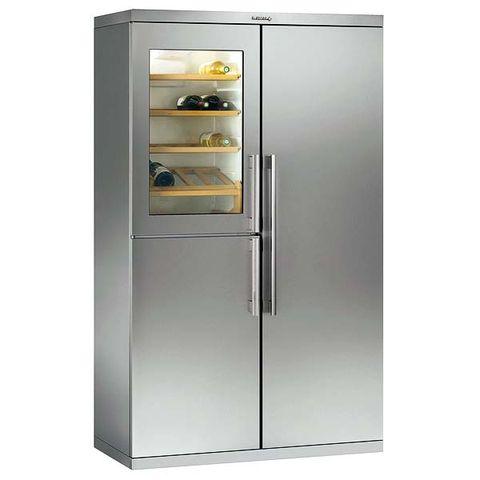 Major appliance, Refrigerator, Freezer, Kitchen appliance, Home appliance, Machine, Metal, Gas, Kitchen appliance accessory, Silver,