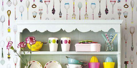 Yellow, Dishware, Room, Serveware, Pink, Interior design, Shelving, Lavender, Purple, Porcelain,