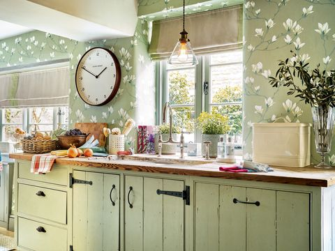 cocina verde de campo