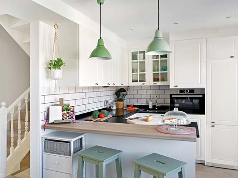Countertop, Kitchen, Furniture, White, Room, Cabinetry, Property, Interior design, Green, Ceiling,