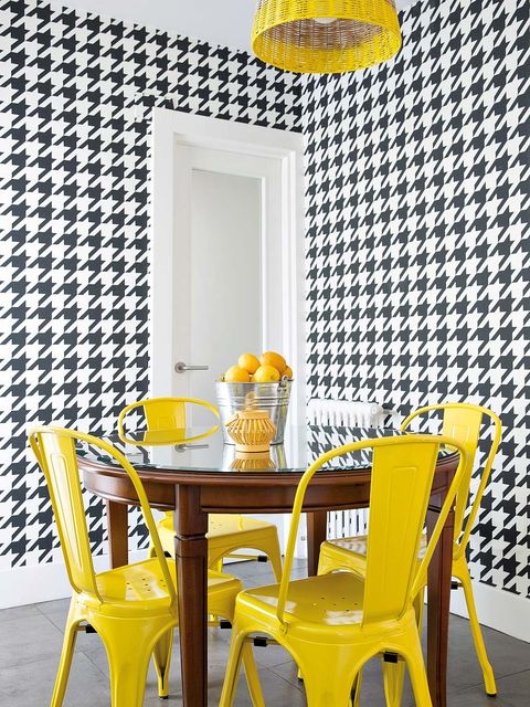 Yellow, Room, Furniture, Interior design, Table, Chair, Orange, Amber, Interior design, Dining room,