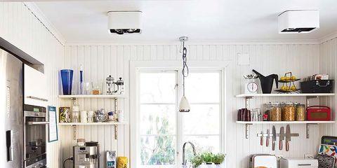 Room, Green, Interior design, Major appliance, Kitchen appliance, White, Ceiling, Kitchen, Home appliance, Home,