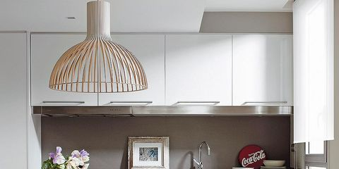 Room, Interior design, Table, Floor, Furniture, Light fixture, Interior design, Flooring, Lampshade, Grey,