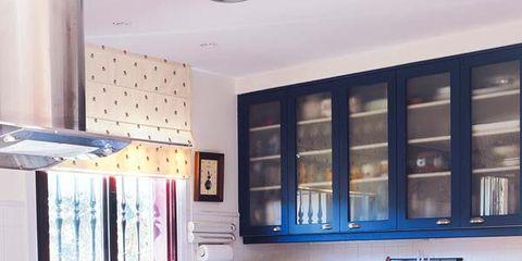 Blue, Room, Interior design, Property, Floor, Light fixture, Interior design, Cabinetry, Home, Ceiling,