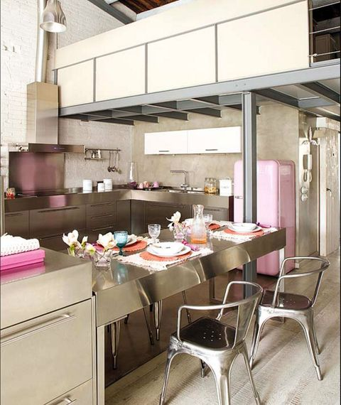 Room, Furniture, Interior design, Building, Kitchen, Table, Architecture, Material property, Restaurant, House,