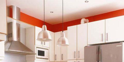 Room, Floor, Flooring, White, Kitchen, Interior design, Home appliance, Kitchen appliance, House, Light fixture,
