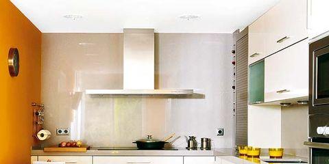 Room, Yellow, Green, Interior design, Kitchen appliance, Major appliance, White, Floor, Kitchen, Home appliance,