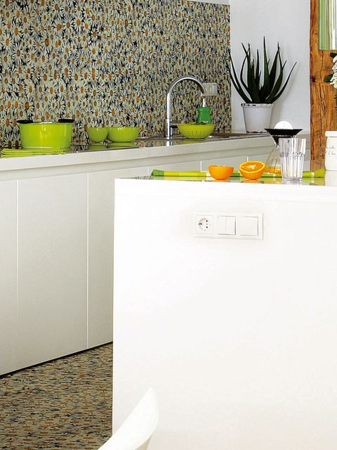 Yellow, Tap, Plumbing fixture, Major appliance, Kitchen, Grey, Sink, Kitchen appliance, Refrigerator, Freezer,