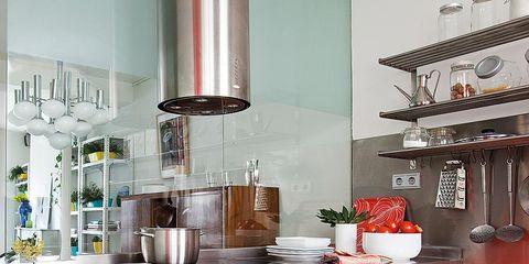 Room, Interior design, Red, Interior design, Kitchen, House, Grey, Cabinetry, Maroon, Drawer,
