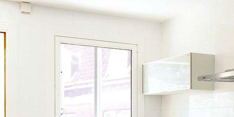 Room, Green, White, Plumbing fixture, Kitchen, Tap, Interior design, House, Floor, Countertop,
