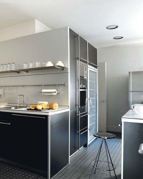 Room, Ceiling, Floor, Major appliance, Fixture, Kitchen, Kitchen appliance, Light fixture, Grey, Countertop,