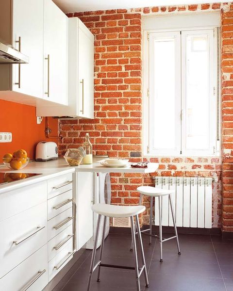 Room, Orange, Furniture, Property, Kitchen, Brick, Countertop, Interior design, Wall, Floor,