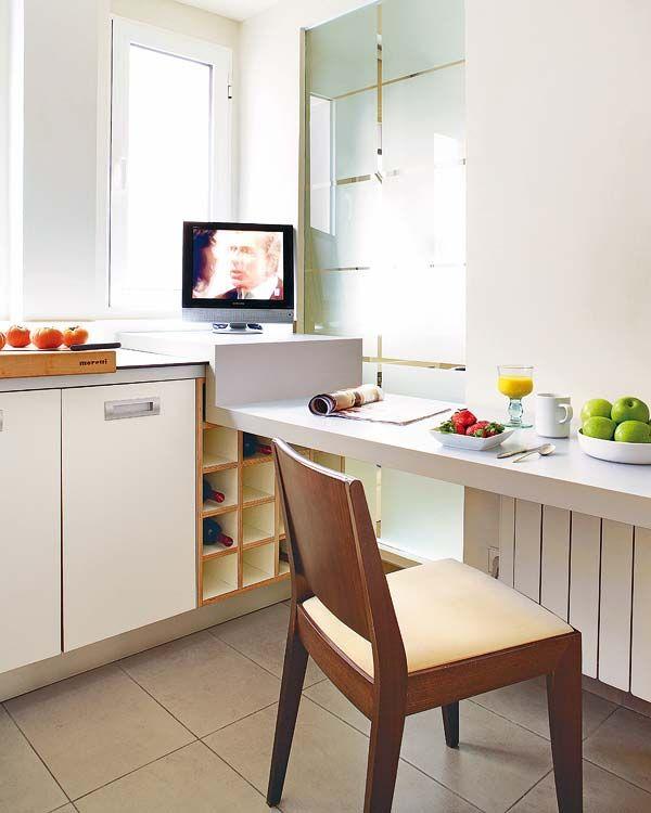 Doce cocinas con barra y sus planos for Planos de una cocina pequena