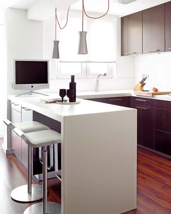 Doce cocinas con barra y sus planos for Anchura encimera cocina