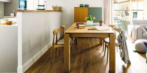 Room, Furniture, Floor, Interior design, Wood flooring, Property, Kitchen, Laminate flooring, Dining room, Ceiling,