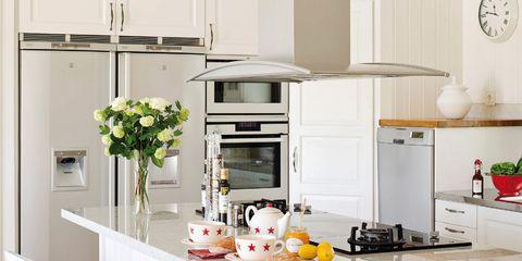 Room, Interior design, Home, Kitchen, Interior design, Kitchen appliance, Major appliance, Countertop, Grey, Home appliance,