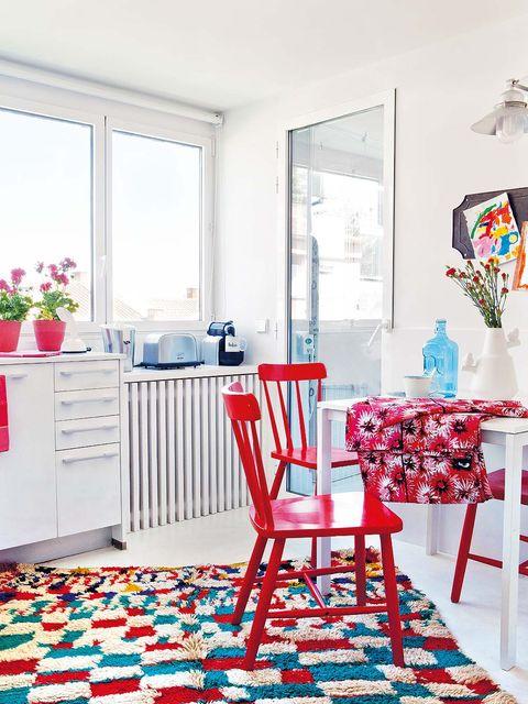 Blue, Room, Interior design, Floor, Red, Textile, Furniture, Flooring, Pink, Home,