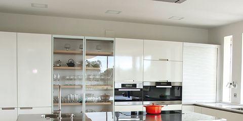 Floor, Wood, Room, Product, Interior design, Flooring, Property, White, Major appliance, Kitchen appliance,