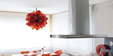 Interior design, Room, Floor, Property, Red, Plumbing fixture, Interior design, Kitchen sink, Flooring, Orange,