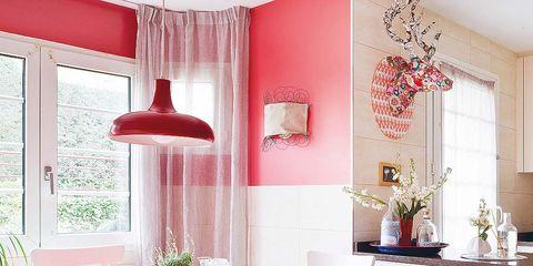 Room, Interior design, Table, Furniture, Red, Interior design, Light fixture, Home, Dining room, Lampshade,
