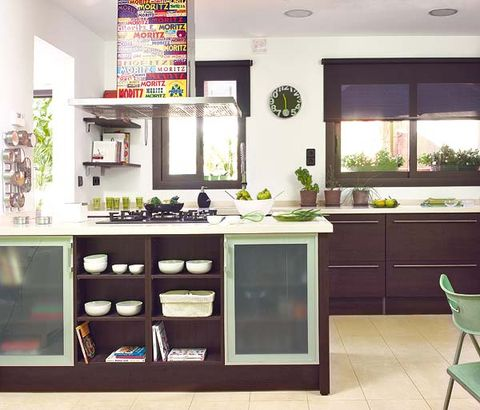 Green, Room, Interior design, Countertop, Kitchen, Floor, Cupboard, Major appliance, Ceiling, Light fixture,