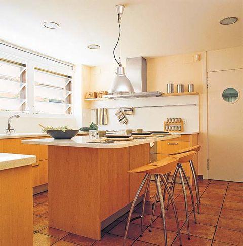 Wood, Room, Floor, Interior design, Flooring, Light fixture, Kitchen, Countertop, Cupboard, Interior design,