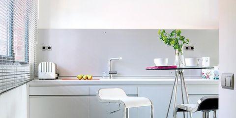 Interior design, Room, Floor, Flooring, Grey, Window covering, Interior design, Material property, Kitchen, Countertop,