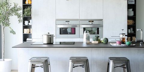 Furniture, Kitchen, Room, Countertop, Bar stool, Interior design, Lighting, Table, Stool, Ceiling,