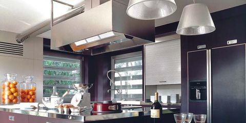 Lighting, Room, Interior design, Ceiling, Table, Light fixture, Interior design, Countertop, Grey, Lighting accessory,