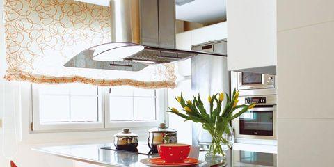 Room, Interior design, Floor, Interior design, Flooring, Fixture, Light fixture, Ceiling, Orange, Countertop,