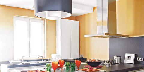 Room, Interior design, Table, Furniture, Floor, Kitchen, Kitchen appliance, Interior design, Home appliance, Grey,