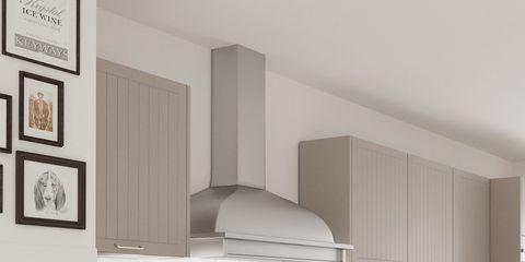 Room, Countertop, Wall, Kitchen, Interior design, Floor, Tableware, Dishware, Grey, Picture frame,