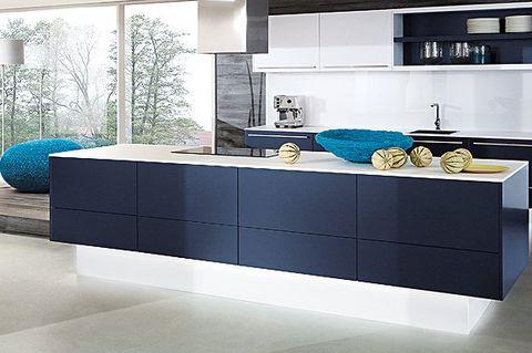 Módulo central de cocina azul