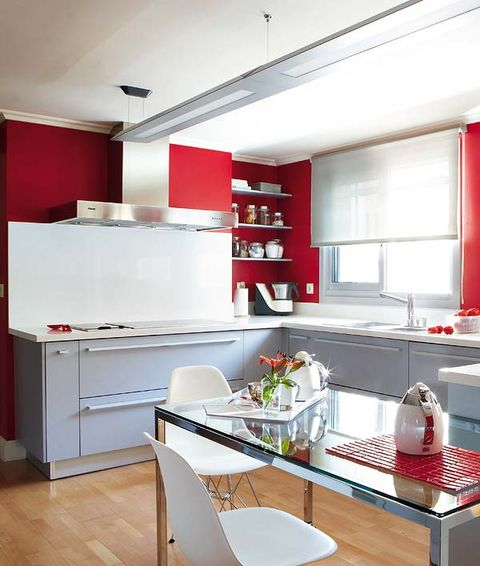 Room, Interior design, Floor, Red, White, Furniture, Ceiling, Home, Interior design, Kitchen,