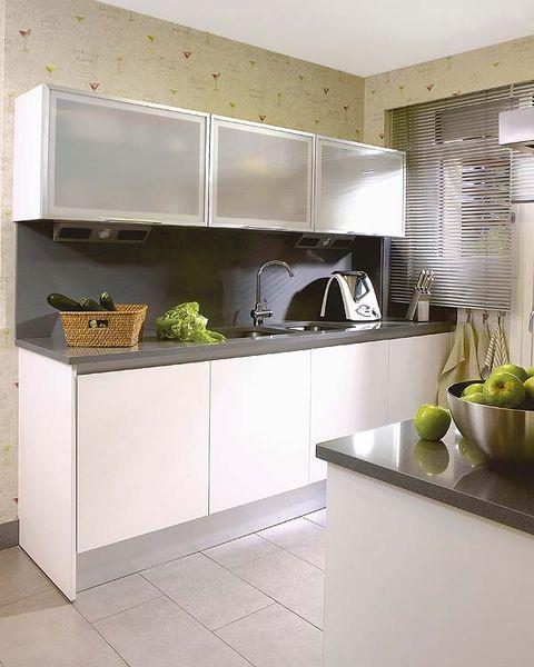 Room, Floor, Countertop, House, Grey, Kitchen, Produce, Kitchen appliance, Kitchen appliance accessory, Tile,