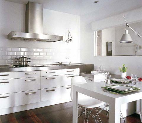 Room, Wood, Interior design, White, Floor, Kitchen, Light fixture, Ceiling, Interior design, Kitchen appliance,