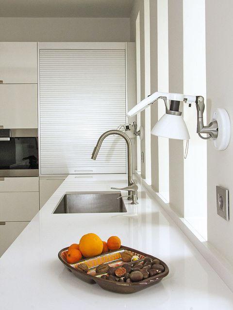 Room, Kitchen, Interior design, Kitchen sink, Plumbing fixture, Fixture, Sink, Grey, Orange, Tap,