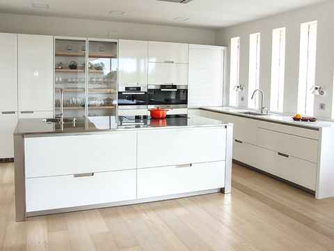 Wood, Floor, Room, Interior design, Flooring, Property, White, Cupboard, Kitchen, Cabinetry,
