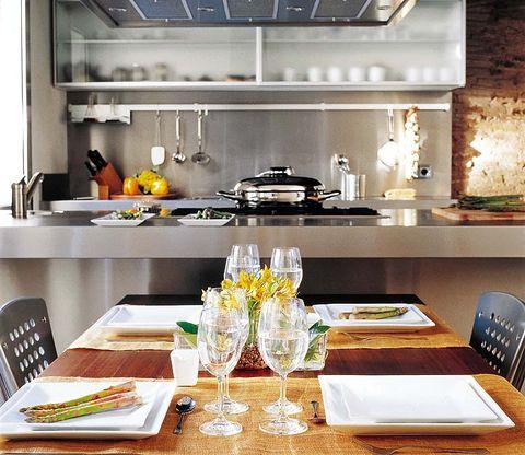 Dishware, Serveware, Room, Tableware, Table, Furniture, Kitchen, Countertop, Major appliance, Plate,