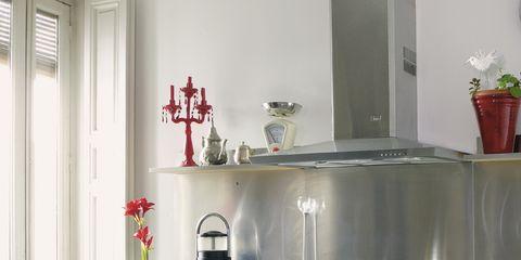 Room, Plumbing fixture, Kitchen sink, Kitchen, Interior design, Tap, Sink, Flowerpot, Grey, Interior design,