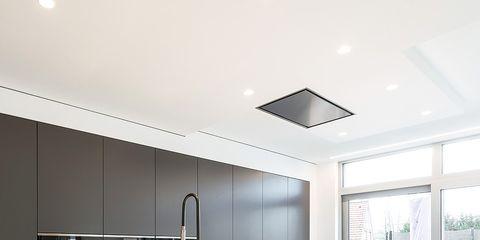Room, Interior design, Property, Glass, Plumbing fixture, Floor, Ceiling, Countertop, Light fixture, Interior design,