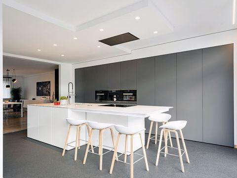 Floor, Room, Interior design, Flooring, White, Table, Ceiling, Wall, Furniture, Glass,